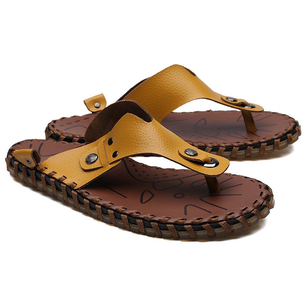 Xujw--schuhe Heren Sandalen, Männer Thong Flip Flops Schuhe Wandern aus echtem Leder Wandern Wandern Schuhe Sommer Strand Hausschuhe Casual Handarbeit rutschfeste weiche flache Sandalen (Farbe : Gelb, Größe : 41 EU) Gelb 0dd5cb