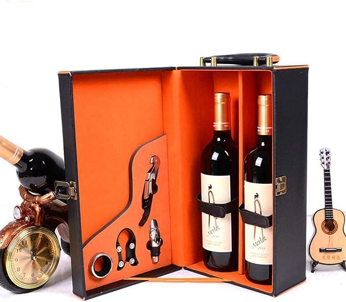Compra Jhlkfc Caja de Cuero Set de Vino Negro Bolsas para Vino Tinto Caja de Almacenamiento Regalo Vino Embalaje Caja Noble Regalo casa decoración (Vino no Incluido) en Amazon.es