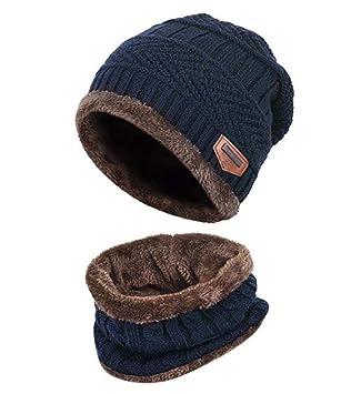 79fdcf0d4ee Boys Girls Fleece Lined Warm Thick Winter Hat Beanie Hat Cap Scarf Set Neck  Warmer for Winter Ski (Blue)