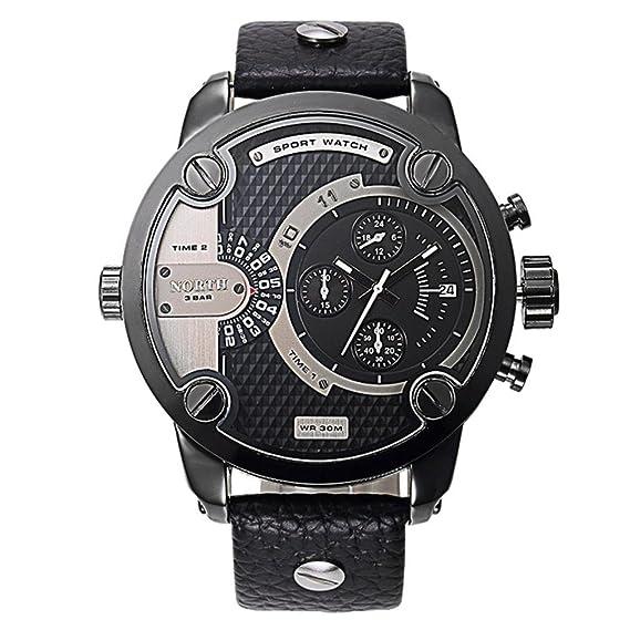 OverDose North Relojes Hombre Deportivo De Cuero Impermeable De Cuarzo Pulso Hombre Reloj