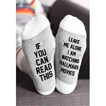 Hallmark Movies Socks Fashion Christmas Leave Me Alone I Am Watching Movies Sock