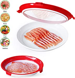 Creative Food Preservation Tray Plastic Vacuum Seal Container Storage Trays with Lid - Set of 2 pcs - Stackable Reusable Round 10.6