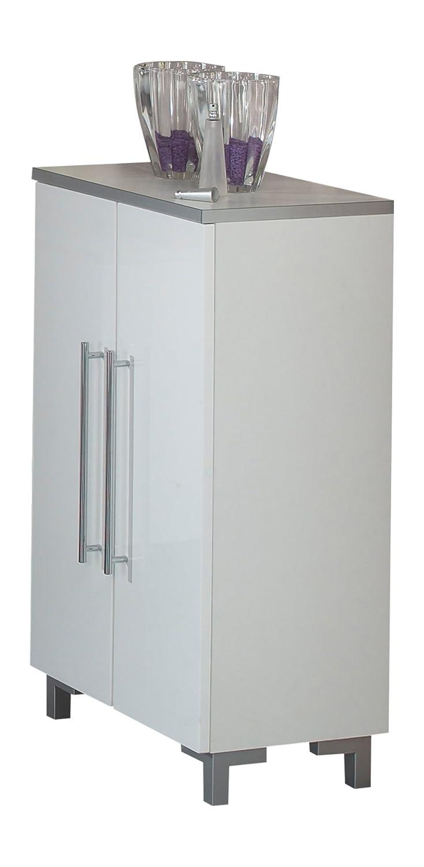 Kesper Badmöbel 2021000823801002 Unterschrank San Remo, 2 Türen, 87,2 x 50 x 31,3 cm, weiß weiß-hochglanz