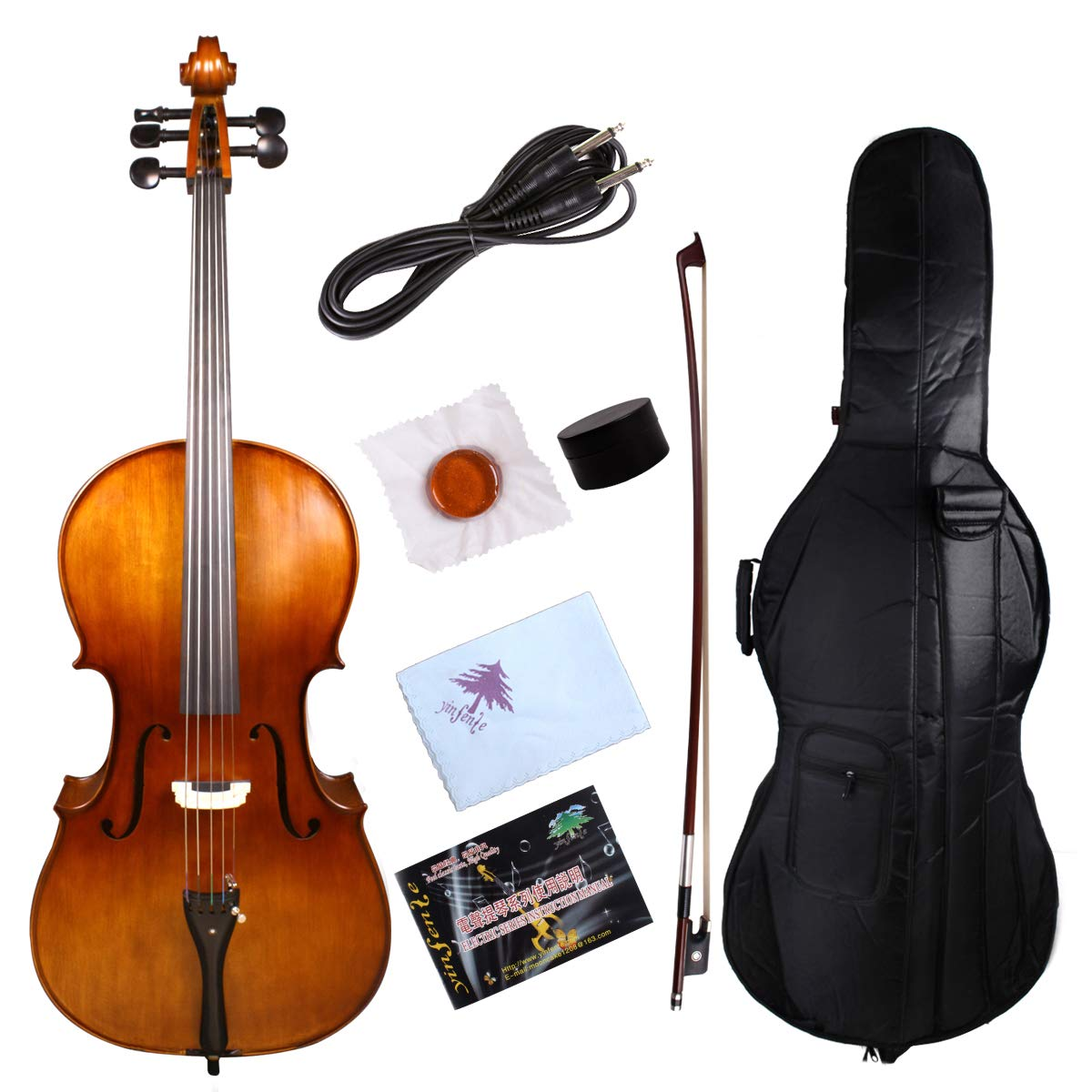 Yinfente 5String Electric Acoustic Cello 4/4 Solid Maple Spruce wood Ebony Fittings Sweet Sound With Cello Bag Bow by yinfente