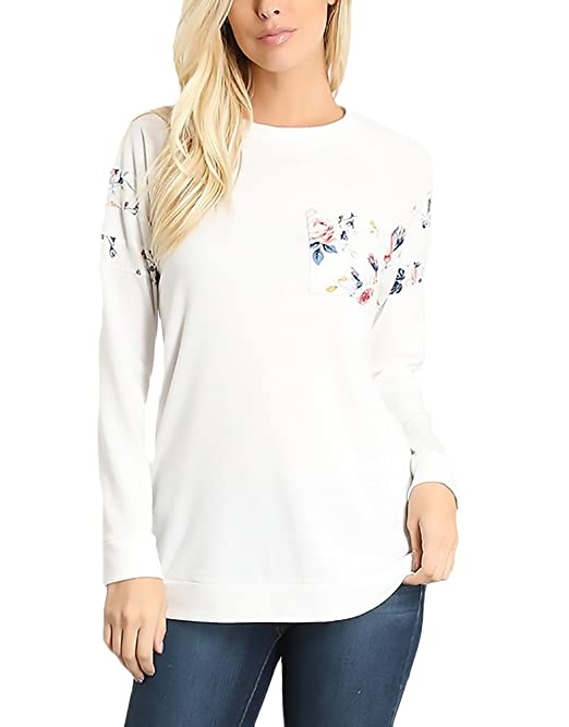 HaiDean Mujer Sudaderas Manga Larga Blancas Basicas Elegantes Moda Estampadas De Modernas Casual Flores Camisetas Invierno Otoño Niña Deportivas Casual ...