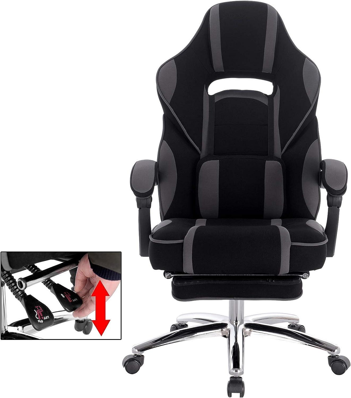 WOLTU BS25gr Sedia Gaming Sedie da Scrivania Poltrona da Ufficio Ergonomico con Poggiapiedi Cuscini Imbottiti