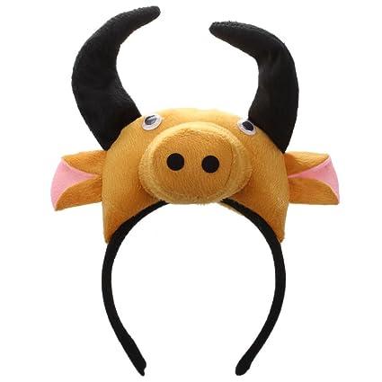SODIAL(R) Banda de cabeza de buey vaca 3D Granja de animales Mascara de