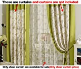 Aside Bside Willow Printed Rural Style Rod Pockets Voile Draperies Home Treatment Sheer Curtains For Sitting Room Kitchen and Child Room (1 Panel, W 52 x L 63 inch, White)