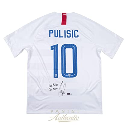 d685cea5d ... free shipping christian pulisic autographed 2018 nike us mens national  team white 10 authentic jersey withquot
