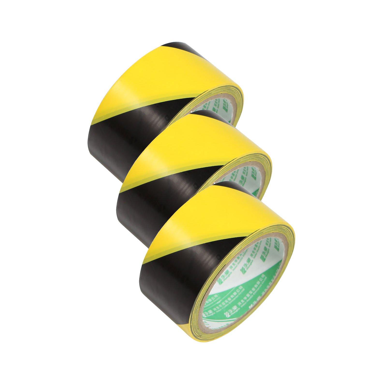 Selens 3 Pack Black & Yellow Warning/Safety Stripe Tape 2'' x 20 Yard