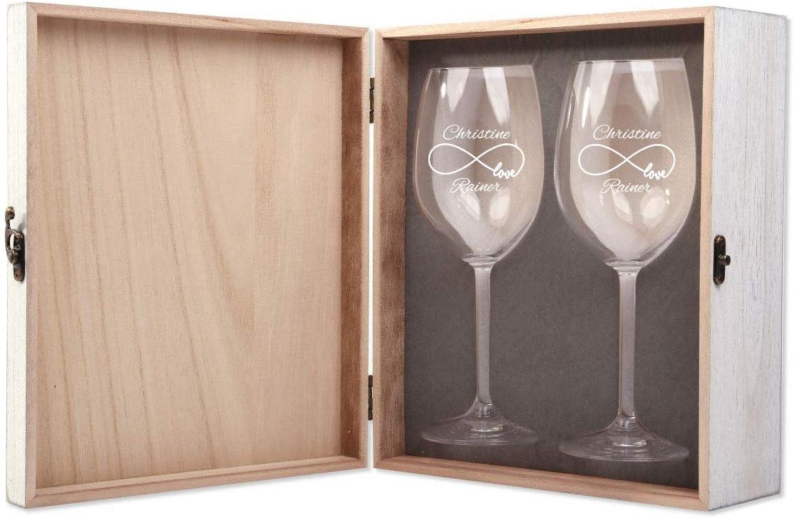 FORYOU24 2 Leonardo Weingl/äser mit Vintage Geschenkbox und Gravur Ringe zur Hochzeit Geschenkidee Wein-Gl/äser graviert
