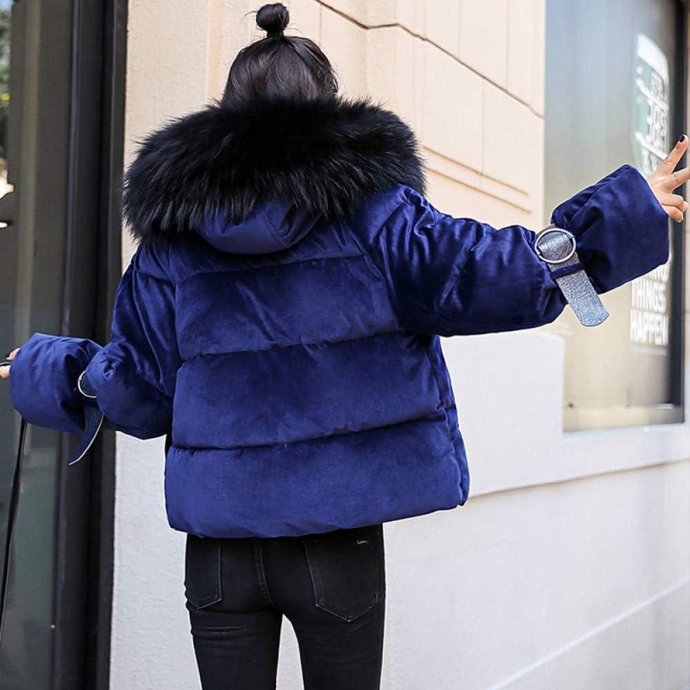 YRFDM Cappotto Caldo,Capispalla Casual Imbottito in Cotone con Collo Alto con Cappuccio Invernale per Donna Nuova Blu Reale