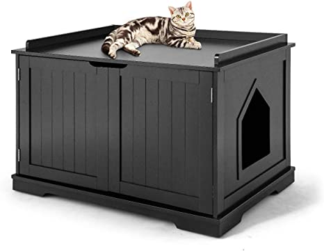 Tangkula Nightstand Pet House Decorative Cat House Cat Home Nightstand With Double Doors Cat Litter Box Furniture Hidden Indoor Pet Crate Cat Washroom Bench Litter Box Enclosure Black Pet Supplies