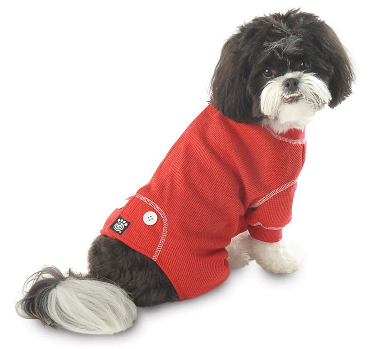 PetRageous Cozy Thermal Pajamas for Pets, Medium, Red with White Stitching