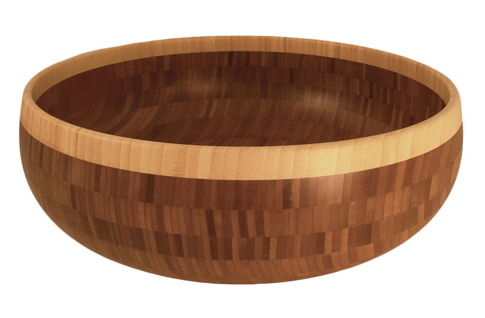 Totally Bamboo 16'' Classic Bowl, Beautifully Unique in it's Two-tone 100% Natural Bamboo Design - Makes a lasting impressing as a Serving Wooden Bowl or Center Piece