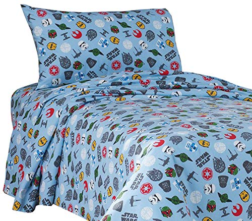Star Wars Scatter Print Flannel Twin Sheet Set - Star Wars Sheets