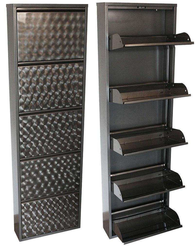 KMH®, Schuhschrank mit 5 Klappen (aus grau lackiertem Metall mit ...