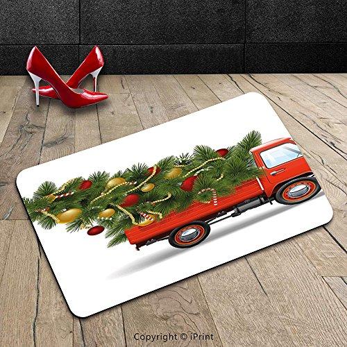 custom-machine-washable-door-mat-christmas-santa-in-red-vintage-truck-with-fun-cartoon-xmas-tree-and