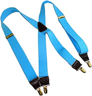 product image for Holdup Brand Sky Blue Y-Back Suspenders with Patented No-slip Silver-tone Clips