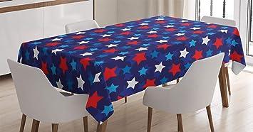 Imagen deABAKUHAUS Azul Marino Mantele, Bandera Americana Estrellas, Fácil de Limpiar Colores Firmes y Durables Lavable Personalizado, 140 x 200 cm, Oscuro Azul Blanco