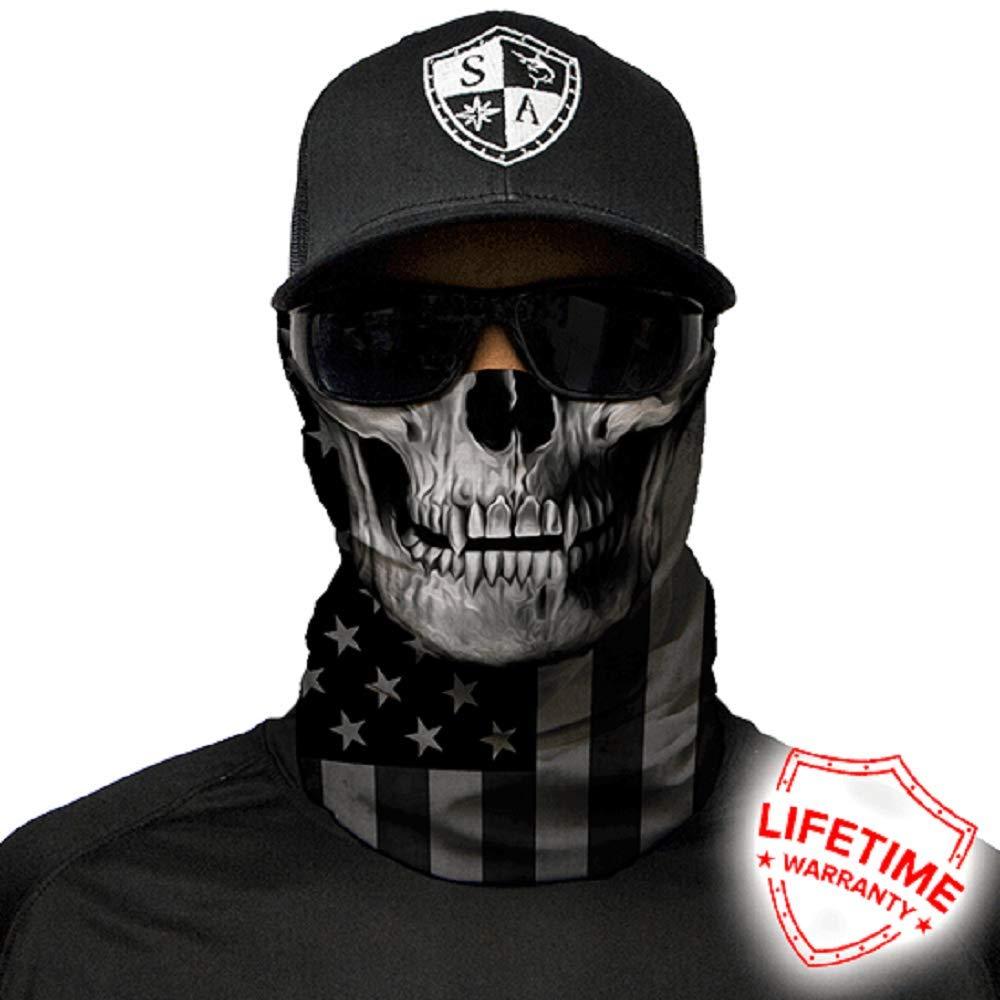 Salt Armour Face Mask Shield Protective Balaclava Bandana MicroFiber Tube Neck Warmer (Blackout American Flag Skull) by SA Company