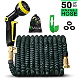 Todoya 50 ft Expandable Garden Hose,Lightweight Garden Water Hose with 3/4 inch Solid Brass Fittings, 9 Function Spray Nozzle Expanding Garden Hoses,Durable Outdoor Gardening Flexible Hose for Yard