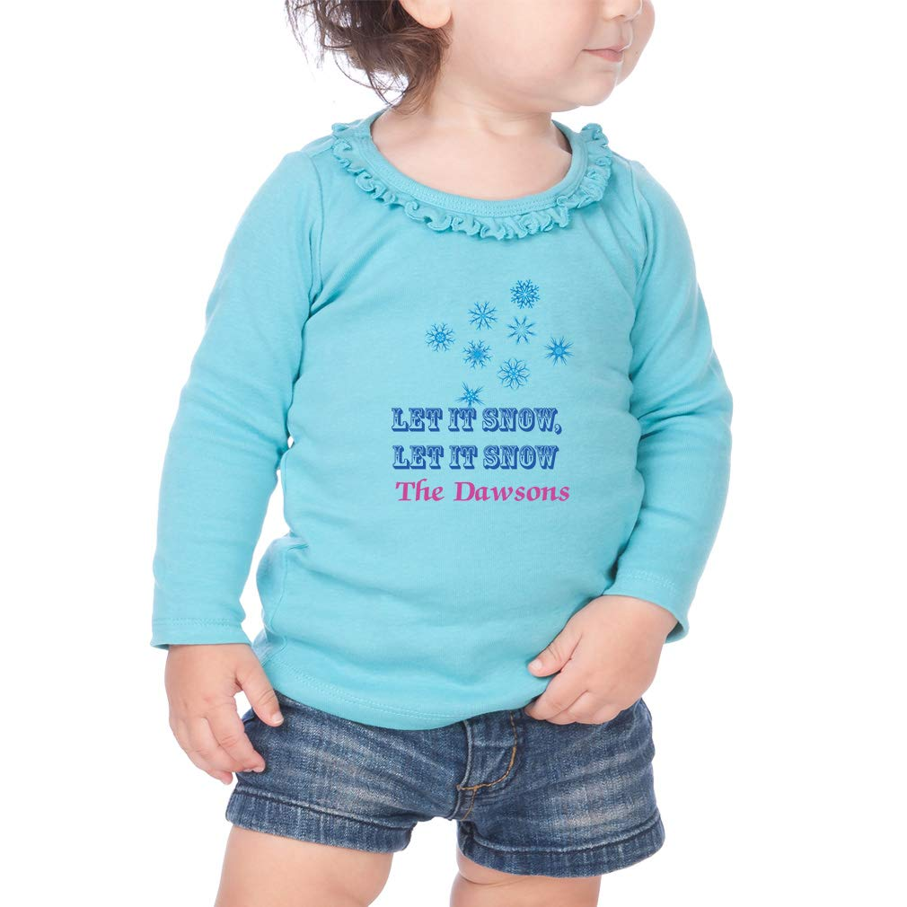 Personalized Custom Let it Snow Cotton Toddler Long Sleeve Ruffle Shirt Top
