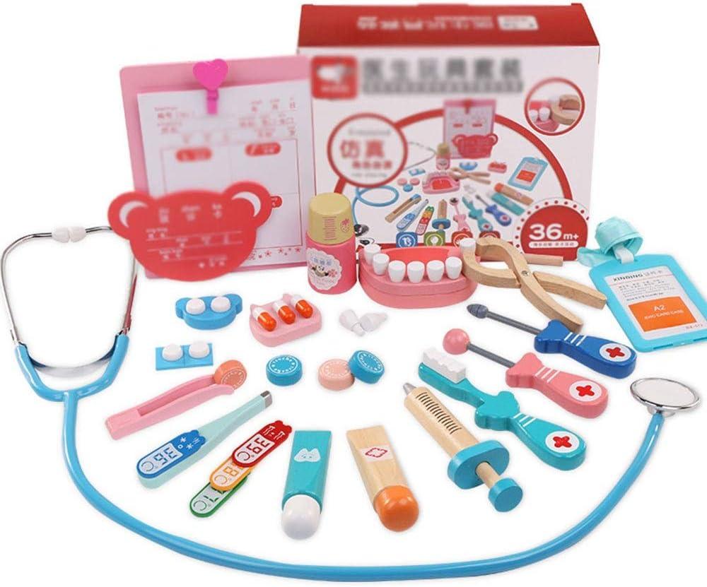 Médico de cabecera Juguete Infantil Inyección Equipo médico fijado Simulación Niño Doctor Estetoscopio de Juguete Bebé Niña Niño Los médicos Kit (Color : Photo Color, Size : 20.2x8x16cm)