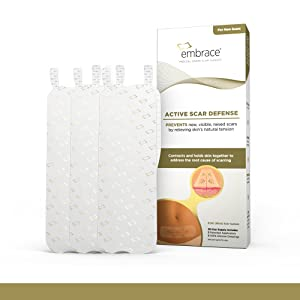 Embrace Active Scar Defense for New Scars, FDA-Cleared Silicone Scar Sheets (SIZE X-Large (6.3 Inch)) 30 Day Supply