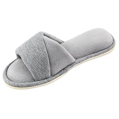 b1e562bb067d HomeIdeas Women s Open Toe Terry Anti-Slip House Slide Slipper