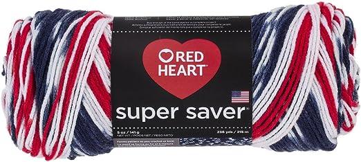 New Red Heart Americana Super Saver Yarn 5 oz 236 Yd Patriotic Red White Blue
