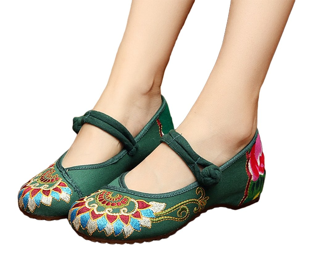 AvaCostume Women's Buddhism Totem Embroidery Casual Mary Jane Shoes Green 42