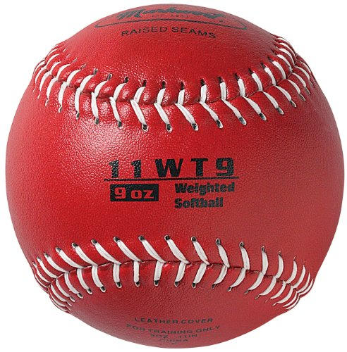 Softball Synthetic 11' Leather (Markwort Color Coded Weighted 11-Inch Softball (9-Ounce, Red))