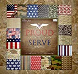"""Army Navy Air Force Marines Military the Paper Studio Proud to Serve Scrapbook Paper 12""""x12"""" New"""