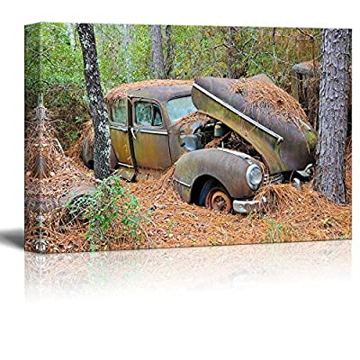 Canvas Prints Wall Art - an Old Rusted Out Scrap Car That Has Been Abandoned in The Woods - 24