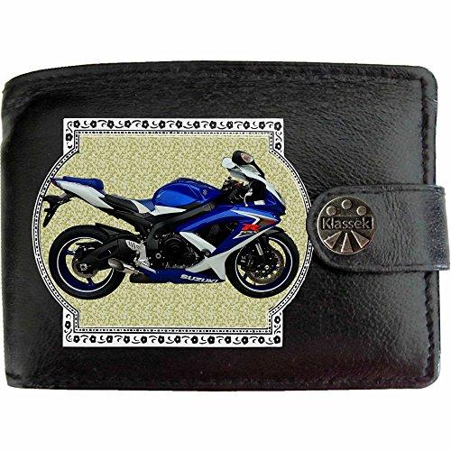 suzuki gsxr 600 L0 Blau Bild auf KLASSEK Marken RFID Herren Geldbörse Portemonnaie Echtes Leder Motorrad Bike Zubehör Geschenk mit Metall Box NICHT OFFIZIELLE SUZUKI Produkte DGhPCYEqr2