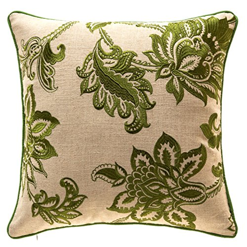 TINA'S HOME French Country Floral Decorative Throw Pillows with Down Feather Filling | Embroidery Linen Living Room Sofa Couch Bed Accent Pillows (20 x 20 inches, Green)