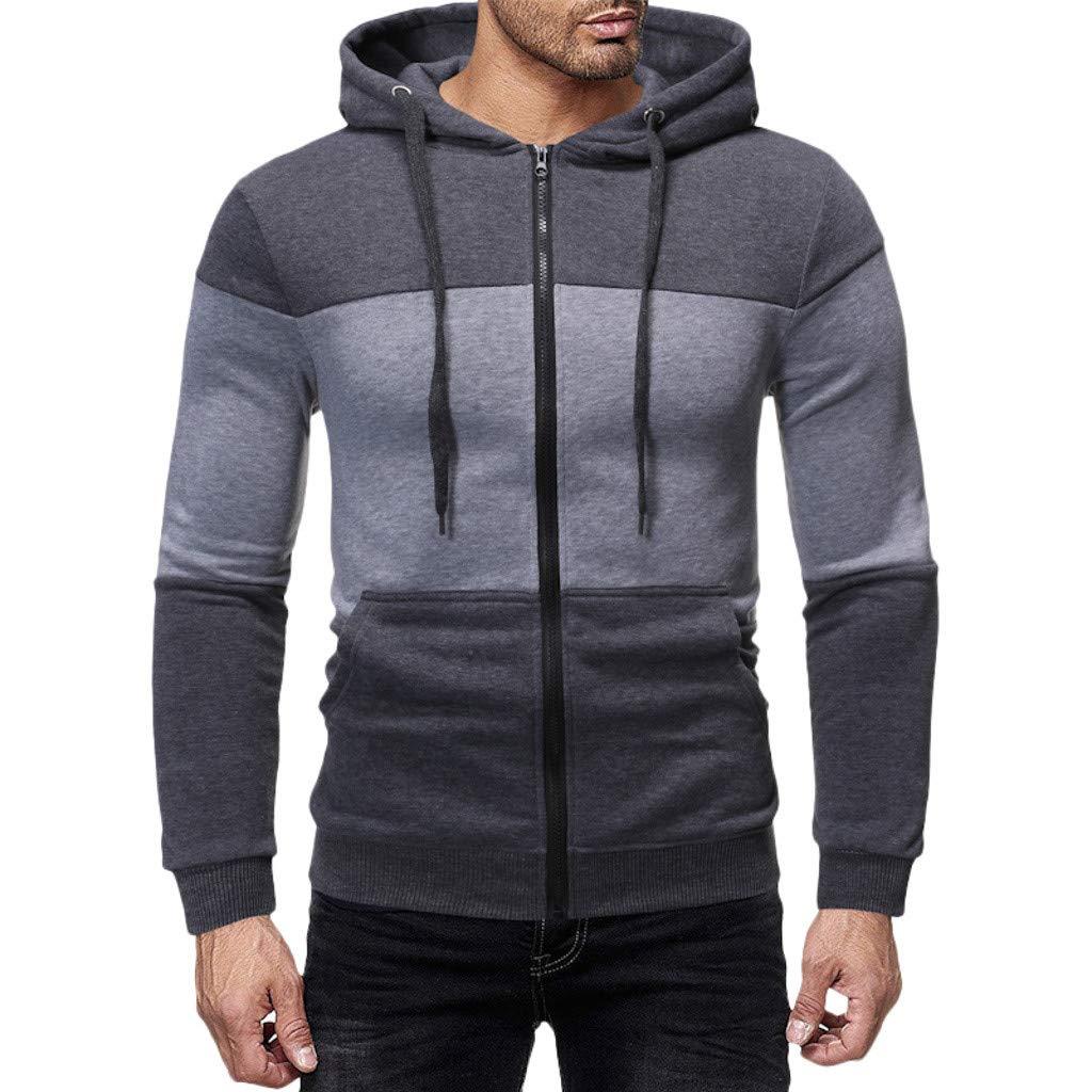 Hooded Sweatshirt,ONLT TOP Men Slim Fit Long Sleeve Lightweight Zip Up Hoodie Hooded Sweatshirts with Kanga Pocket by ONLYTOP_Clothing