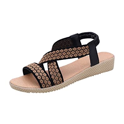 abfeae7ceb466 Halijack Women s Summer Sandals Peep Toe Buckle Strap Sandals Fashion  Elastic T-Strap Low Flat