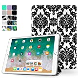 TNP iPad Pro 9.7 Case - Slim Lightweight Shell Smart Cover Stand, Hard Back Protection with Auto Sleep Wake for Apple iPad Pro 9.7'' Inch 2016 Release (Damask Black)