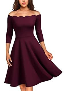 5c416e074531 MISSMAY Women's Vintage Cocktail Party Half Sleeve Boat Neck Swing Dress