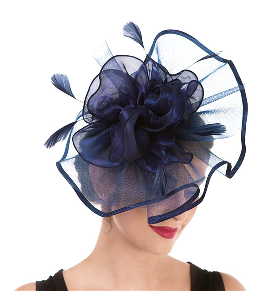 Hj2navy Fascinator Women's Organza Church Kentucky Derby British Bridal Tea Party Wedding Hat Summer Ruffles Cap