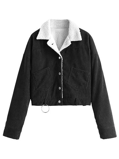 Amazon Com Zaful Women S Faux Shearling Corduroy Jacket Fleece