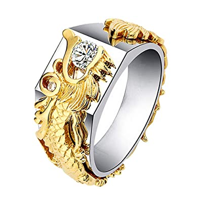 Amazon.com: SPORTTIN - Anillo de dragón de oro con diamantes ...