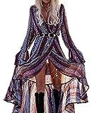 R.Vivimos Women Summer Long Sleeve Cardigan Sexy Maxi Long Dresses 3XL Grey Purple