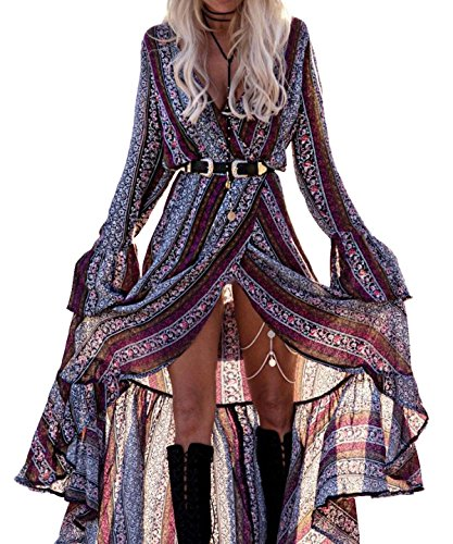 [R.Vivimos Women Summer Long Sleeve Cardigan Sexy Maxi Long Dresses 3XL Grey Purple] (Hippie Dress)