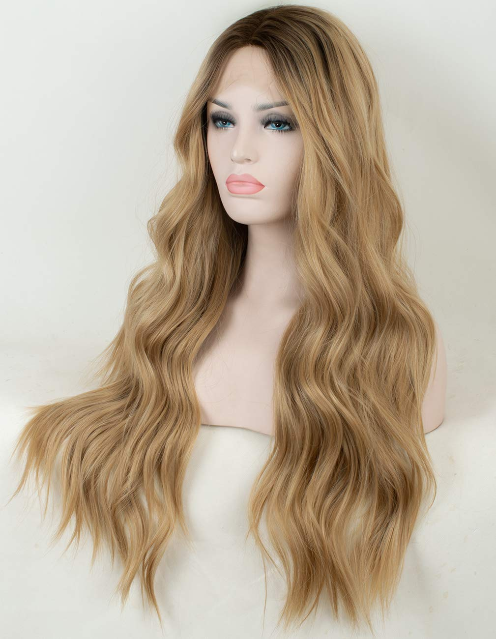 05ad82d0d61 Amazon.com  Persephone Ombre Blonde Lace Front Wig Wavy Soft Brown Roots  Ash Blonde Ombre Wigs for Women Glueless Long Wavy Synthetic Wig with  Middle ...