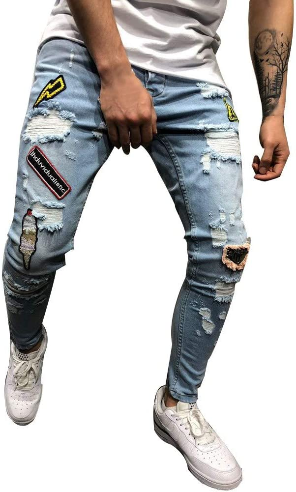 Men/'s Ripped Pants Denim Jeans Destroyed Stretchy Slim Fit Fashion Trousers Men