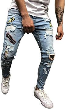 STRIR-Ropa Pantalones Vaqueros Rotos Hombre,Jeans Pantalones Vaqueros Elásticos Skinny Slim Fit Delgados, Pantalones Largos de Mezclilla de Cintura ...