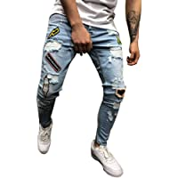 Man Pants Cotton Denim Tight Hole Biker Torn Jeans Skinny Cargo Straight Slim High Waist Stretch Elastic Pants Casual Autumn Summer Casual Sport Pants Loose For Men Momoxi